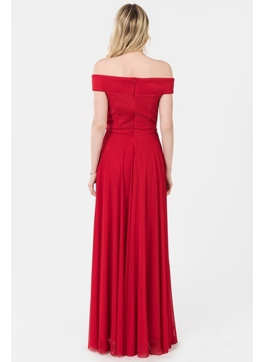 İroni Kayık Yaka Uzun Abiye Elbise Kırmızı